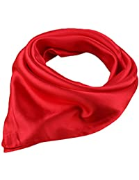 """Women's Solid Stain Charmeuse Neckerchief Square Scarf 23"""" * 23"""""""