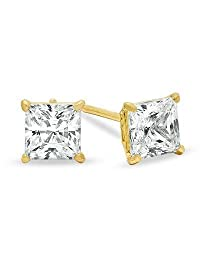 Unisex 14K Solid Yellow Gold 4mm Princess Square Cut CZ Earrings Free Box 38-23Y Size unisex