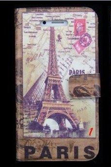 Termichy Brown Vintage Retro Paris France Wallet Style Flip Case with Eiffel Tower and Map Design for Apple Iphone 4s / 4 (At&t, Verizon, Sprint)