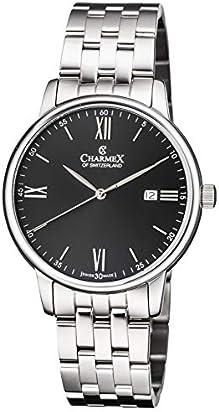 Charmex Luxury Men's 'Amalfi' Wrist Watch Stainless Steel Case and Black Stainless Steel Band — 42mm Analog Watch — Swiss Quartz Movement (Model: CX-3036)