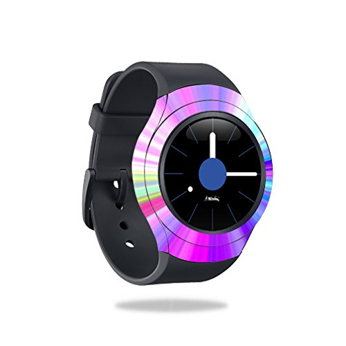 MightySkins Protective Vinyl Skin Decal for Samsung Gear S2 Smart Watch Cover wrap Sticker Skins Rainbow Zoom