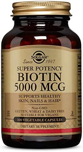 Solgar Super Potency Biotin 5000 mcg, Non-GMO, Supports Healthy Skin, Nails & Hair, 100 Vegetable Capsules