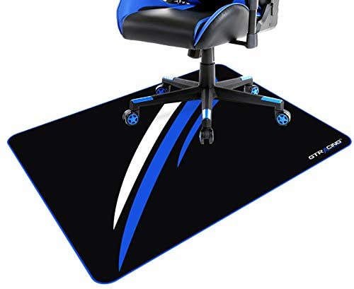 GTRACING Gaming Chair Mat for Hardwood Floor 43 x 35inch Office Computer Gaming Desk Chair Mat for Hard Floor , Blue