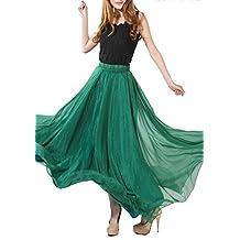 Qiaonier Women Full/ankle Length Elastic Pleated Retro Maxi Chiffon Long Skirt