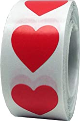 Red Heart Stickers Valentine's Day Crafting Scrapbooking 3/4 Inch 500 Adhesive Stickers