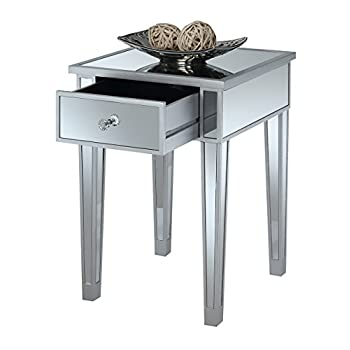 Convenience Concepts Gold Coast Mirrored End Table with Drawer, Silver / Mirror