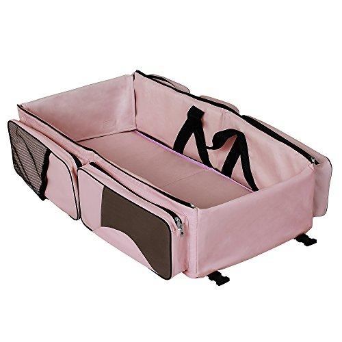Dream On Me Allea 3 in 1 Diaper Bag, Pink & Brown