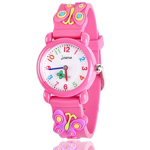 B-hero Kids Watches, Kids Waterproof Watch 3D Lovely Cartoon Silicone Watch for Girl and Boy with Gift Case-The for Kids (Pink-Butterfly)