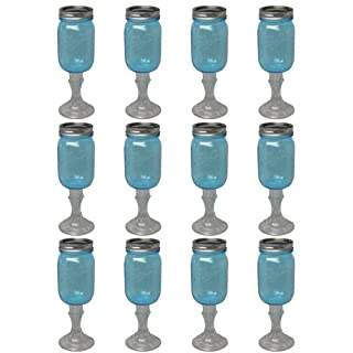 Southern Homewares RNWG-Blue-16oz-12pk Mason Stemware Wine Glass, 16-Ounce, 12-Pack, Clear/Blue
