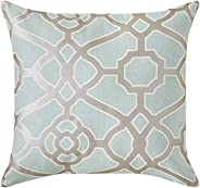 Amazon Brand – Ravenna Home Contemporary Geometric Pattern Throw Pillow, 20 Inch, Silver Sage / Silver