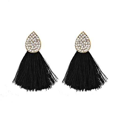 2018 Hot Sale! Paymenow Women's Stud Earrings Lovely Cute Jewelry Gifts Charms Oval Crystal Tassel Drop Earrings Jewelry Accessory (Black) Bangles Trendy Jewelry