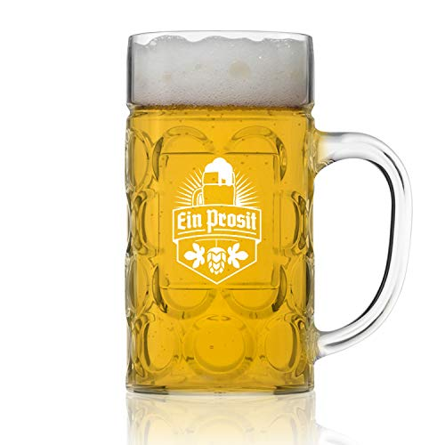 - Unbreakable Styrene Plastic (NOT GLASS) .5L Oktoberfest German Beer Mug with Handle (22 oz.) Classic German Stein with Dimpled Finish - Vintage Party Brew Tankard- Lightweight Styrene- Made in USA
