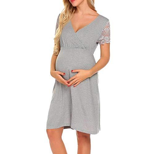 Maternity Manica Dresslksnf Da Gravidanza Dress Vestito Notte  L allattamento Maternità Pizzo Cucitura Profonda Gonna Per Donna V Lunga  Allattamento Premaman ... 219be582beb