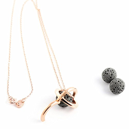 NEW  Sterling Silver Oil Diffuser Necklaces and Bracelets for Essential Oil Aromatherapy with Real Natural Lava Rock | Minimalist Designs | 9 DESIGNS FOR WOMEN | Gift Box ()