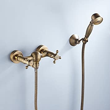 Lightinthebox Two Handles Antique Brass Wall Mount Shower Faucet ...