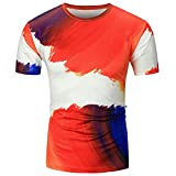 Jianekolaa Unisex Tees Tie Dye Style T-Shirts Men Women Fun Multi Color Round Neck Tops Red
