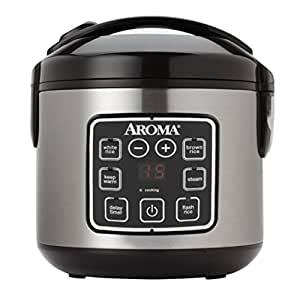 Aroma Housewares ARC-914SBD 8-Cup (Cooked) Digital Cool-Touch Rice Cooker and Food Steamer with Stainless Steel Exterior, Silver