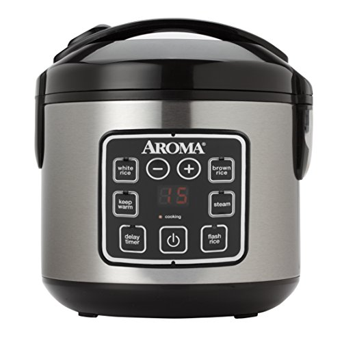 Aroma  2-8-Cups (Cooked) Digital Rice Cooker and Food Steamer, Stainless Steel