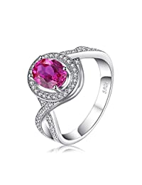 JewelryPalace Classic 1.8ct Oval Created Pink Sapphire Halo Promise Ring 925 Sterling Silver
