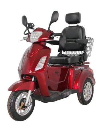 GreenPower - Ciclomotor eléctrico con 3 ruedas, color rojo