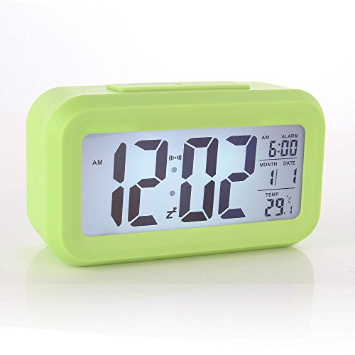 Digital Snooze LED Alarm Clock Backlight Time Calendar Thermometer Temperature (Green)