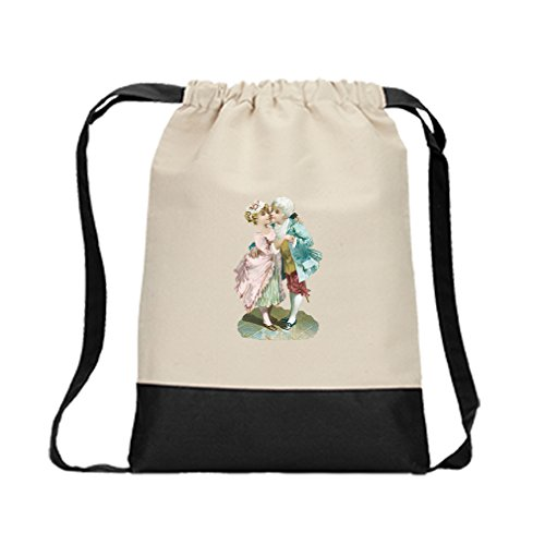 Canvas Backpack Color Drawstring Hugging Couple Vintage Look By Style In Print | Black by Style in Print