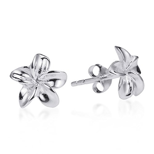 Hawaiian Plumeria Flower .925 Sterling Silver Stud Earrings