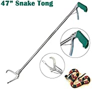 SUNKY - 47 inch Professional Snake Catcher, Collapsible Extra Heavy Duty Reptile Grabber Tongs Stick Rattlesna