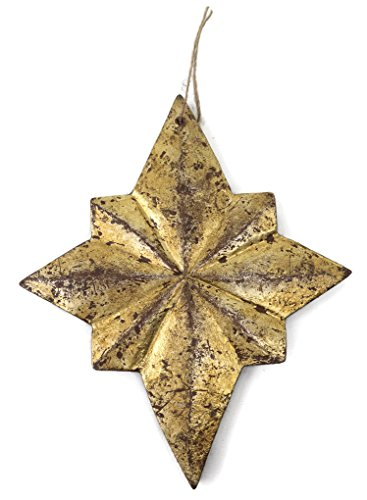 Wood Gilded Chandelier Ornament Star Distressed Gold Finish