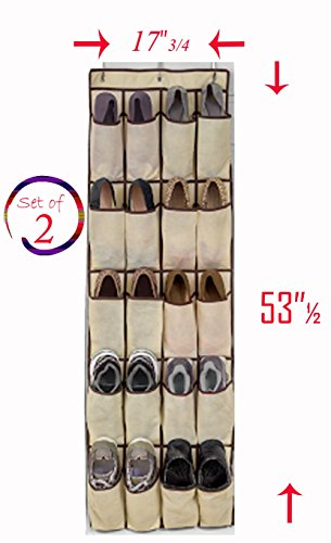 20 Pocket Over the Door Shoe Rack Closet Organizer, Natural Canvas, Size: 17 ¾ x 53 ½ inches (Pack of 2)