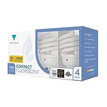 Triangle Bulbs T40144-4 (4 Pack) - 23-Watt (100W) Spiral Medium Base Natural Daylight (5000K) CFL Light Bulbs, 4 PACK