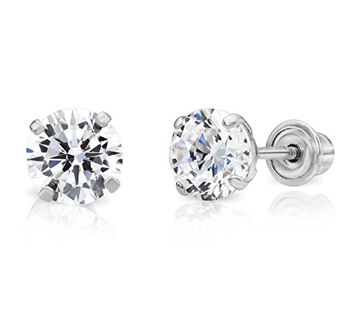 14k White Gold Solitaire Cubic Zirconia CZ Stud Earrings with Secure Screw-backs (5mm)