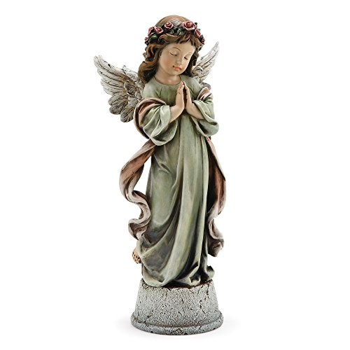 Napco Little Girl Praying Angel Muted Sage 4.5 x 14.5 Resin Musical Tabletop Figurine