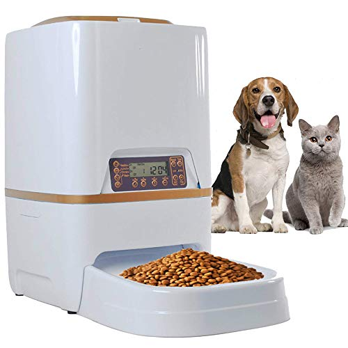 Homdox 6L Automatic Pet Feeder Food Dispenser for Cat Dog with Voice Recorder and Timer Programmable