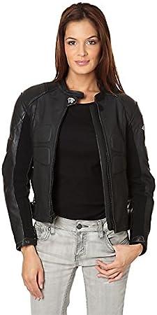Zerimar KENROD Chaqueta mujer|moto con protecciones |Piel 100% auténtica |Color negro Talla XXL