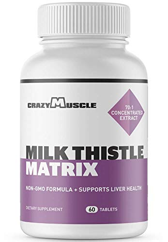 Milk Thistle Capsules - 12,525 mg Strength (70x Concentrated Extract - 80% Silymarin) - Best Hangover Pills & Liver Support - Proven Liver Rescue, Cleanse & Regenerator Detoxifier - 60 Veggie Tablets