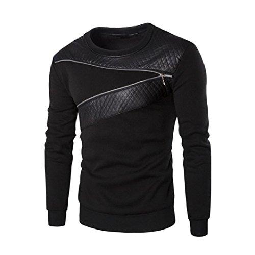 Splicing Leather Sweatshirt,Hemlock Men Warm Coat Outwear Sport Sweater Tops (XXXL, Black)