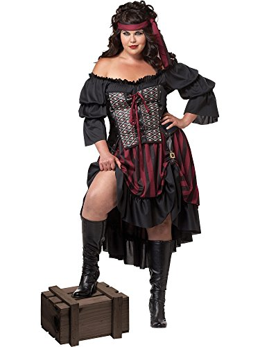 California Costumes Women's Plus-Size Pirate Wench Plus, Black/Burgundy, 3X