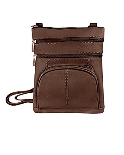 Roma Leathers Genuine Leather Multi-Pocket Crossbody Purse Bag; Brown