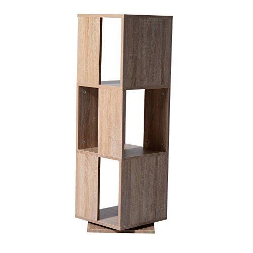 HomCom 3-Tier Rotating Bookshelf - Oak