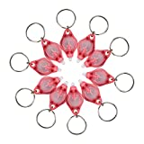 SM SunniMix 10PCS Micro LED Key Ring Lights Mini Outdoor Sports Torch Flashlight Chain - Red, as described