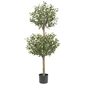 Nearly Natural 5309 Olive Double Topiary Silk Tree, 4.5-Feet, Green 54