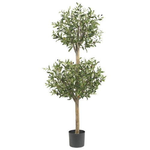 Nearly Natural 5309 Olive Double Topiary Silk Tree, 4.5-Feet, Green by Nearly Natural