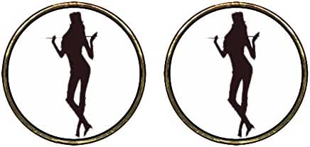 GiftJewelryShop Gold Plated Dance themes Jazz Dancer Photo Stud Earrings 12mm Diameter