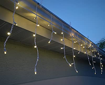 LED Icicle Christmas Lights String - Warm White - 70 Bulb - 5mm Ultra Bright - Commercial Grade - For Holiday Wedding Party Event & Yard Decorations - Indoor Outdoor - Hanging Curtain - White Wire