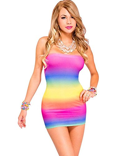 Music Legs Womens Sexy Mini Tube Dress! (Rainbow),One Size from Music Legs