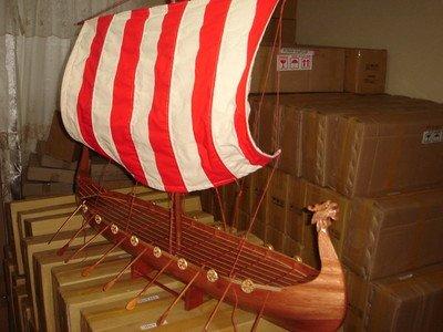 (Viking Dragon Boat High Quality Hand Made Wooden Model Ship 40