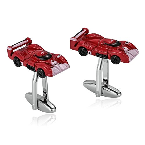 Epinki Mens Stainless Steel Red Cobra Race Car Red Cufflinks for Bussiness Wedding-with Gift Box ()