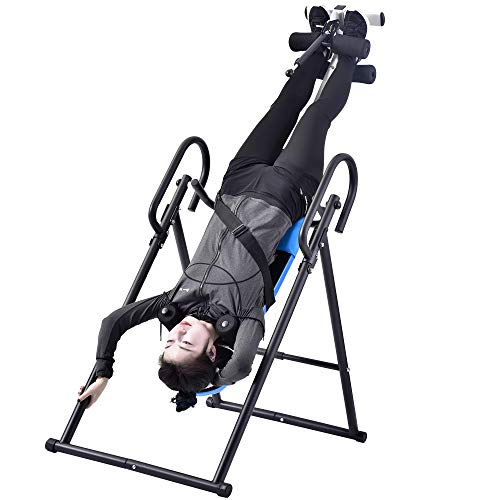 - COZYWELL Heavy Duty Foldable Inversion Table Fitness Back Upside Down with Adjustable Headrest & Lumbar Support Pad for Pain Relief Therapy (Blue)
