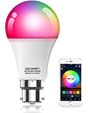 Alexa Compatible Smart Light Bulb with Remote, Vanance 10W 800LM B22 Bayonet WiFi & Bluetooth Dimmable White and Color Changing LED Smart Bulb No Hub Required, Works with Alexa Google Home